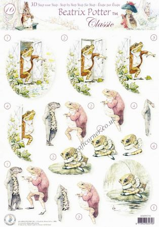Beatrix Potter's Peter Rabbit 16 Jeremy Fisher 3D Decoupage Sheet.